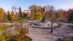 Aerial shot of russian south city - Krasnodar. The monument to Catherine 2. 4K Stock Footage
