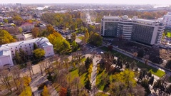 Aerial shot of russian city - Krasnodar. Panorama of the city. Ferris wheel. 4K Stock Footage