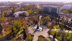 Aerial shot of russian city - Krasnodar. Panorama of the city. Ferris wheel. 4K Stock Footage