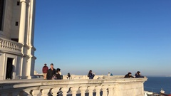 People On Top of National Pantheon of Lisbon, Santa Engracia Stock Footage