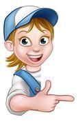 Woman Worker Carpenter Mechanic or Plumber Stock Illustration