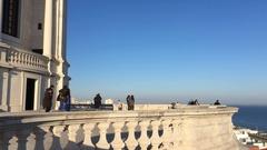 Tourists at National Pantheon of Lisbon Enjoying Top View of City Stock Footage