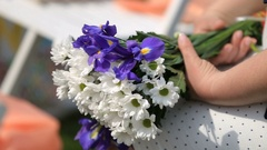 Woman holds bouquet of white and blue field flowers on her knees Stock Footage