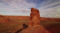 Bears Ears Sunset Aerial Shot of Rock Formation in Utah Desert - Orbit USA Stock Footage