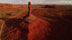 Bears Ears Sunset Aerial Shot of Rock Formation in Utah Desert - Fly Over USA Stock Footage