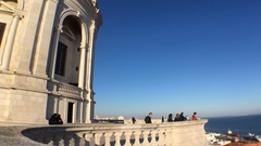 People Looking Great View of Lisbon on Top of Pantheon Stock Footage