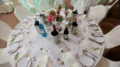White round dinner table served for rich wedding party Stock Footage