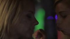 Two beautiful women dancing and smoking in nightclub, enjoying weekend Stock Footage