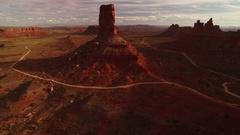Bears Ears Sunset Aerial Shot of Rock Formation in Utah Desert - Forward USA Stock Footage