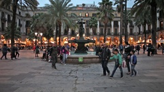 Placa Reial in Barcelona at Dusk Stock Footage