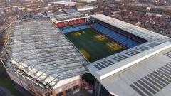 Rising aerial view of Villa Park, Birmingham, UK. Stock Footage