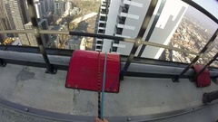 High Rise Rope Access, Point of View, Melbourne, Stock Footage