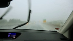 POV of passenger in car. Lack of visibility Stock Footage