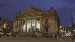 BRUSSELS, BELGIUM – Brussels Bourse, Stock Market, Night Stock Footage