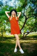 Fashion photo of young magnificent woman wearing fashionable summer clothes Stock Photos