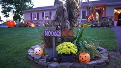 American suburb house decorated for halloween - United States Stock Footage