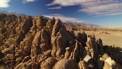Sierra Nevada Mts Aerial Shot of Mountains and Rocky Desert California Fly Over Stock Footage