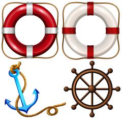 Marine symbol with safety rings and anchor Stock Illustration
