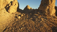 Trona Pinnacles Aerial Shot Sunset in Mojave Desert near Death Valley Forward Stock Footage