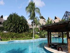 Mexico swim bar tropical vacation resort pan DCI 4K Stock Footage