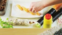 Placing Japanese Radish on a Plate Stock Footage