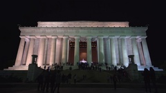 Abraham Lincoln Memorial at night - Washington DC Stock Footage