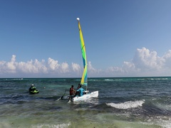 Mexico sailboat tourism Caribbean Ocean recreation DCI 4K Stock Footage