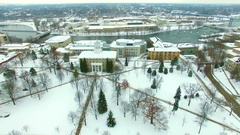 Scenic river snow covered buildings and industrial Stock Footage
