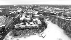Appleton Wisconsin Fox River waterfront area, aerial view Stock Footage
