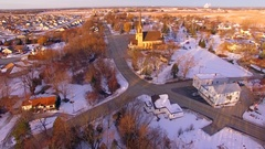 Amazing Church towers over small town USA at sunrise Stock Footage