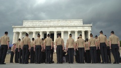 Military ceremony in Abraham Lincoln Memorial - Washington DC Stock Footage