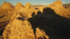 Trona Pinnacles Aerial Shot Sunset in Mojave Desert near Death Valley - Fly Over Stock Footage