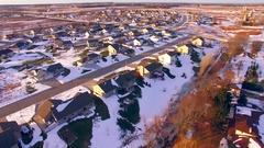 Urban sprawl, new neighborhoods, suburbs taking over the countryside Stock Footage