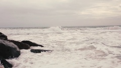 A loop of big waves in an agitated ocean Stock Footage