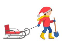 Little boy in winter clothes pulling a sled, cartoon style vector illustration Stock Illustration