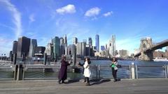 New York City skylines, view from Brooklyn bridge - Manhattan cityscape Stock Footage