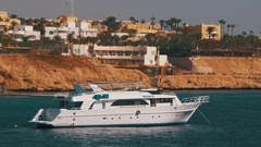 Cruise Boat at Anchor in the Red Sea Stock Footage