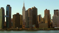 Empire State Building near the East River Stock Footage