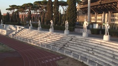Ancient Stadium with statues. Outdoor amphitheater near the Olympic Stadium Stock Footage