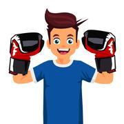 Cool little boxer. Sports concept. Stock Illustration
