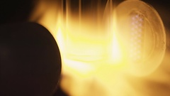 Firing glass at the glass-blowing plant Stock Footage