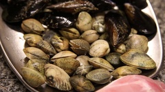 Seafood clams on restaurant tray Stock Footage
