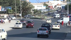 Praia city traffic Cape verde, Africa Stock Footage