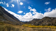 Timelapse of Fall Foliage along Creek in Eastern Sierra -Pan Right- Stock Footage