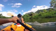 POV of a couple kayaking at Raiatea Island on the Faaroa River, the only navigab Stock Footage