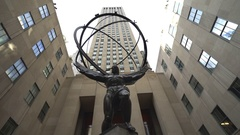 Atlas Statue at Rockefeller Center, slider shot - Manhattan, New York City Stock Footage