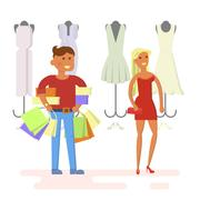 Couple is in shopping mall Stock Illustration