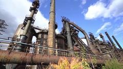 Abandoned steel factory, industrial ruin, monument - Steel stacks, Betlehem, Us Stock Footage