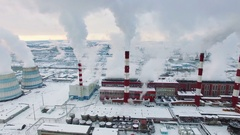 Aerial view of Central Heating and Power Plant. Cold winter day Stock Footage