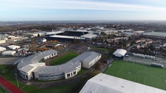 Rising aerial reveal of the Hawthorns and surrounding area. Stock Footage